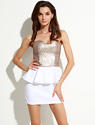 Women's Strapless Ruffle Mini Dress , Polyester White Bodycon/Party/Sexy