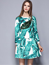Women's Going out Street chic Skirt Suits,Print Round Neck Long Sleeve Green Polyester