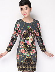 Women's Casual/Daily Chinoiserie Tunic Dress,Floral Round Neck Mini Long Sleeve Black Polyester Fall Mid Rise Inelastic Thin