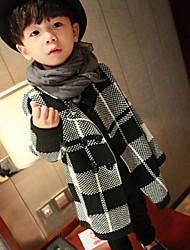 Boy's Casual/Daily Check Jacket & CoatCotton Winter Black