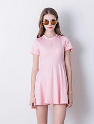Damen Skater Kleid-Ausgehen Niedlich Stickerei Rundhalsausschnitt Übers Knie Kurzarm Rosa / Schwarz Kunstseide Sommer Hohe Hüfthöhe