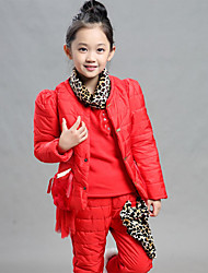 Girl's Casual/Daily Solid Clothing Set,Cotton Winter Green / Red