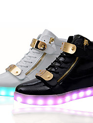 Unisex Sneakers Spring / Summer / Fall / Winter Comfort Leather Outdoor / Athletic / Casual LED Shoes Chaussures Luminous Black / White Walking