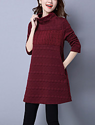 Women's Casual/Daily Simple Sweater DressSolid Turtleneck Above Knee Long Sleeve Blue / Red / Gray Cotton / Linen Winter