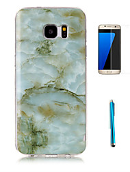 For Samsung Galaxy S7 Edge Case Cover with Screen Protector and Stylus Granite Marble Pattern Soft TPU Case S7 S6 Edge S5 S4 S3