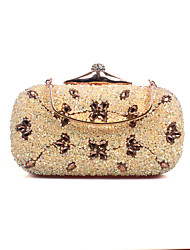 Women Bags All Seasons Poly urethane Evening Bag with Crystal/ Rhinestone for Wedding Event/Party Formal Silver Golden