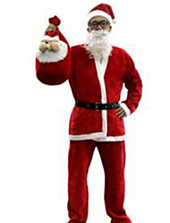 Christmas Costumel/Holiday Halloween Costumes Red Solid Top / Pants / Belt / Hats Christmas Male Nonwoven Fabric / Pleuche