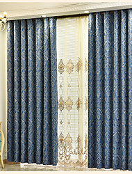 Two Panels Curtain European , Flower Bedroom Poly / Cotton Blend Material Curtains Drapes Home Decoration For Window