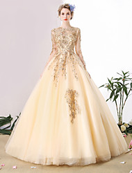 Ball Gown Scoop Cathedral Train Tulle Wedding Dress with Beading Lace