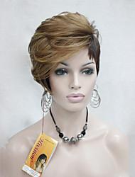 courte perruque de haute qualité thermique sympathique blonde de fraise mélange brun asymmetri femmes