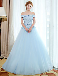 Formal Evening Dress - Vintage Inspired Ball Gown Off-the-shoulder Floor-length Tulle with Embroidery Lace