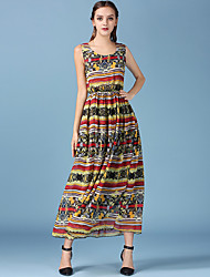 1287 Women's Going out / Casual/Daily Simple A Line DressPrint Round Neck Maxi Sleeveless Multi-color Polyester