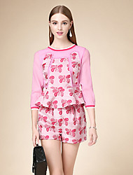 DOF Women's Casual/Daily Cute Fall Set PantFloral Round Neck  Sleeve Pink Cotton Medium
