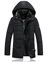 Men's Down Coat,Street chic Plus Size Solid-Polyester White Duck Down Long Sleeve Hooded
