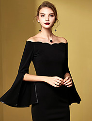 MASKED QUEEN Women's Casual/Daily Vintage Sheath DressSolid Off Shoulder Above Knee Black Cotton Fall / WinterHigh