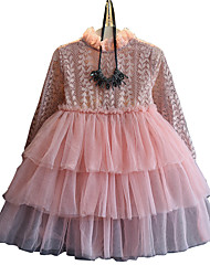 Girl's Cotton Spring/Fall Fashion Casual/Daily Multi-layer Lace Patchwork Long Sleeve Princess Dress Skirt