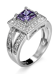 Ring AAA Cubic Zirconia Zircon Cubic Zirconia Simple Style Fashion Purple Champagne Jewelry Wedding Party Halloween Daily Casual Sports