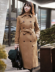 Women's Casual/Daily Simple Coat,Solid Long Sleeve Brown Wool