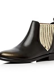Золотистый-Женский-На каждый день-Кожа-На толстом каблуке-Военные ботинки / Ботинки-Ботинки