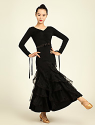 Ballroom Dance Dresses Performance Chinlon Ruffles / Sash/Ribbon 1 Piece Long Sleeve High Dress