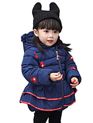 Girl's Cotton Winter Fashion Casual/Daily Cartoon Print Thicken Keep Warm Cotton-Padded Coat