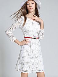 Femme Dentelle Gaine Robe Décontracté/Quotidien simple,Imprimé Col Arrondi Au dessus du genou Manches ¾ Blanc Coton Automne Taille Normale