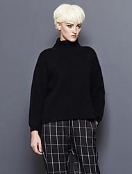 Mujer Regular Pullover Noche / Casual/Diario Simple,Un Color Negro Cuello Alto Manga Larga Lana / Pelo de Conejo / Rayón / NailonOtoño /
