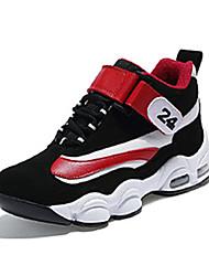 Women's Athletic Shoes Spring / Fall Comfort PU Athletic Flat Heel Hook & Loop Black and Red / Black  Basketball