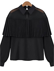 Women's Ruffle Casual/Daily Street chic All Seasons BlouseSolid Shirt Collar Long Sleeve White / Black Rayon / Polyester Thin