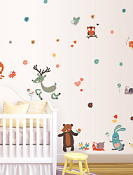 Cartoon Forest Animals Sika Deer Brown Bear Wall Stickers DIY Children's Bedroom Wall Decals