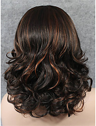 IMSTYLE 16''High Quality Brown Mix Medium Wave Synthetic Lace Front Wig High Heat Resistant Fiber