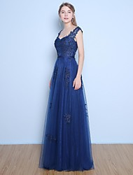 Formal Evening Dress A-line Straps Floor-length Lace / Satin / Tulle with Appliques / Beading / Sash / Ribbon / Sequins