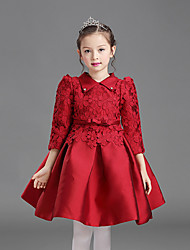 A-line Tea-length Flower Girl Dress - Cotton / Satin Half Sleeve Queen Anne with Bow(s) / Lace