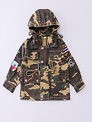 Girl's Casual/Daily Patchwork Trench CoatCotton Spring / Fall Green