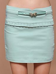 Damen Röcke - Einfach Übers Knie Baumwolle / Nylon / Elasthan Mikro-elastisch