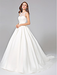 Ball Gown Jewel Chapel Train Mikado Wedding Dress with Beading Sash / Ribbon Button Ruche by LAN TING BRIDE®