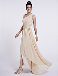 LAN TING BRIDE Asymmetrical One Shoulder Bridesmaid Dress - Elegant Sleeveless Chiffon