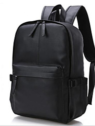 Men School Bag Cowhide Casual Outdoor Black