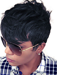 Fashion Layered Short Wavy Capless Wigs High Quality Human Hair