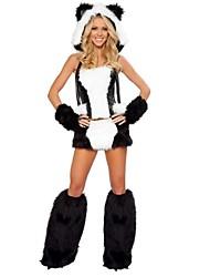 Cosplay Kostüme / Party Kostüme Tier Fest/Feiertage Halloween Kostüme Schwarz/Weiß Patchwork Top / Rock / Handschuhe / Knieschützer