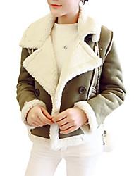 Feminino Casaco Casual Simples Outono / Inverno,Color Block Rosa / Verde Poliuretano / Pêlo de Cordeiro Lapela Chanfrada-Manga Longa