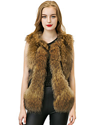Women's Casual/Daily Vintage / Simple Jackets,Solid Round Neck Sleeveless Spring / Fall White / Black / Brown Others Medium