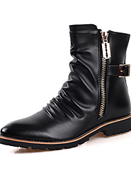 High Quality Men's Fashion Combat Boots Comfort High Top Shoes Casual Fur Lining Warm Shoes Flat Heel Zipper Black