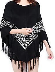 Damen Kurz Mantel / Capes-Ausgehen Einfach Druck Rot Schwarz V-Ausschnitt Langarm Baumwolle Herbst Mittel Mikro-elastisch