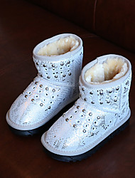 Girls' Boots Comfort Snow Boots Cowhide Winter Casual Comfort Snow Boots Sequin Flat Heel White Black Flat
