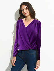 Sexy / Street chic Spring Blouse,Solid V Neck Long Sleeve Red / Black / Green / Purple Polyester Thin