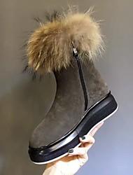 Women's Boots Winter Comfort Suede Casual Black Yellow Gray