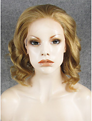IMSTYLE 11''Short Mix Brown Wave Top Quality Synthetic Wigs Lace Front Can Be Curled Heat Resistant