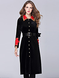 GLITTER   Women's Casual/Daily / Formal / Party/Cocktail Vintage / Sophisticated Loose DressPatchwork Shirt Collar Midi / Knee-length Long Sleeve