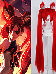 League of Legends LOLMagical Girl Jin Ke Si red with ears cosplay animation wig